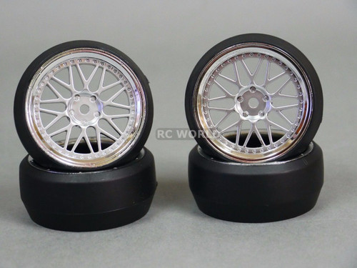 RC 1/10 DRIFT WHEELS Package 0 Degree 3 MM Offset 3 PIECE SILVER W/ CHROME Lip