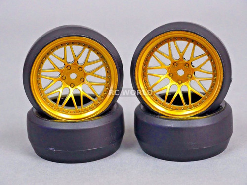 RC 1/10 DRIFT WHEELS Package 0 Degree 6 MM Offset 3 PIECE GOLD