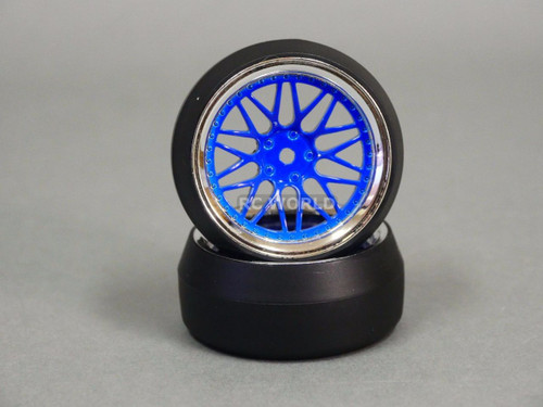 RC 1/10 DRIFT WHEELS Package 0 Degree 6 MM Offset 3  PIECE BLUE / CHROME Lip