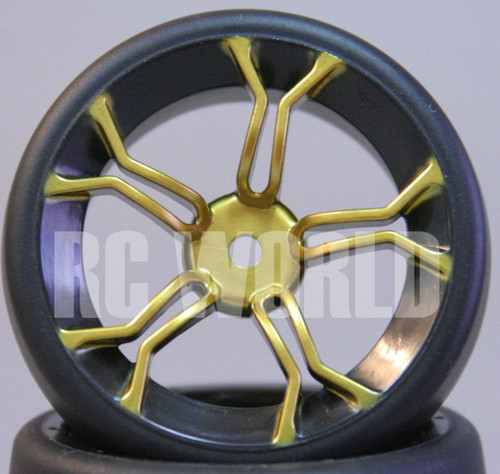 C Car 1/10 DRIFT WHEELS TIRES Package 3 MM Offset GOLD 5 Star w/ Black LIP