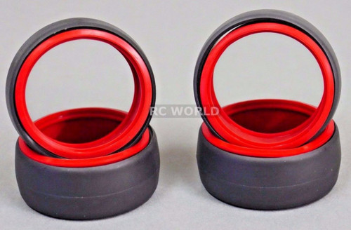 RC 1/10 DRIFT TIRE Package W/ COLOR RINGS - RED