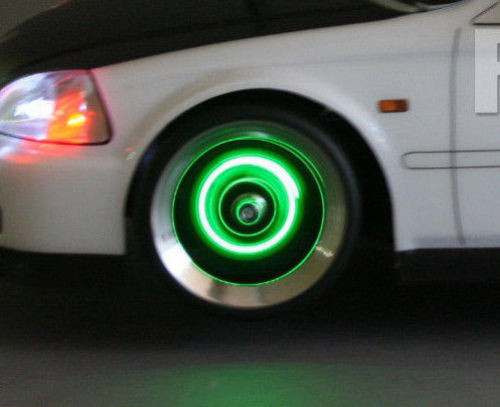 1/10 RC Car Drift LED WHEEL LIGHTS GREEN L.E.D Rotors Lights +BATTERIES INCLUDED