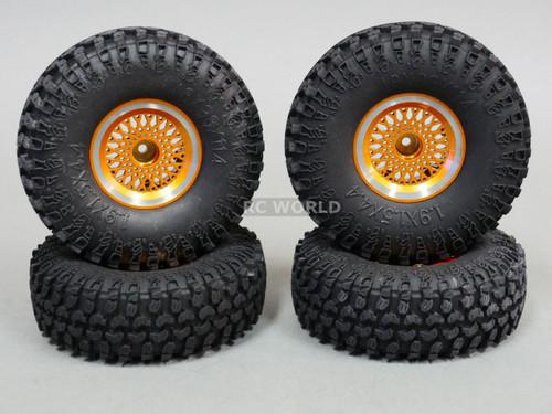 RC 1/10 Tamiya JEEP WRANGLER 1.9 Bead Lock METAL Wheels W/ Swampers (4 Set)