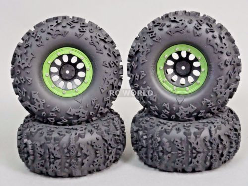 "Axial 2.2 Rock CRAWLER Beadlock Wheels & TIres 140 mm 5.5"" -Set Of 4- GREEN"