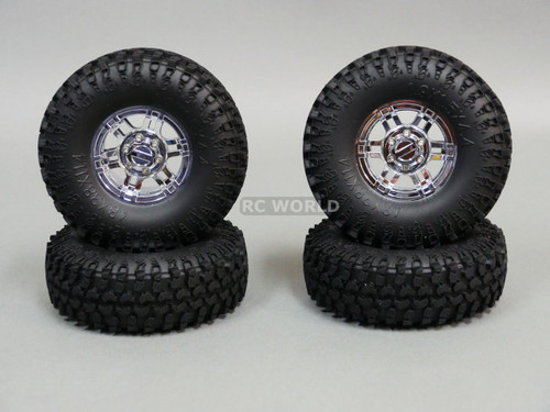 Gmade 1/10 SCALE TRUCK RIMS 1.9 OFF-ROAD BEADLOCK WHEELS W/110 MM SWAMPERS CHROME