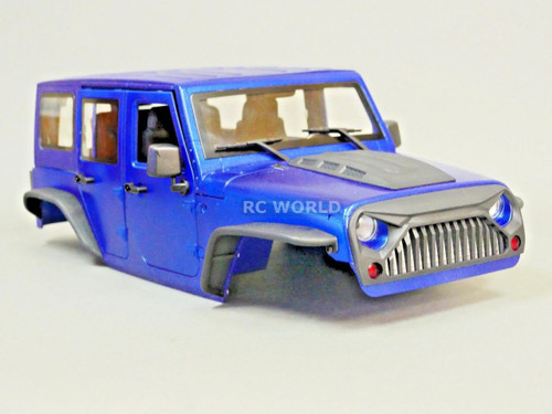RC Scale Truck Body Shell 1/10 JEEP WRANGLER RUBICON Hard Body V2 w / ROLL BARS