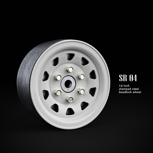 SR04 1.9inch beadlock wheels (Gloss white) (2