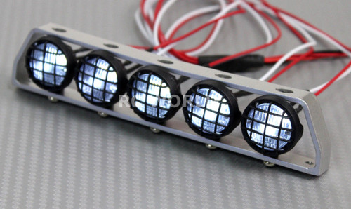 RC Scale Accessories All Metal LIGHT BAR WITH L.E.D LED LIGHTS Silver