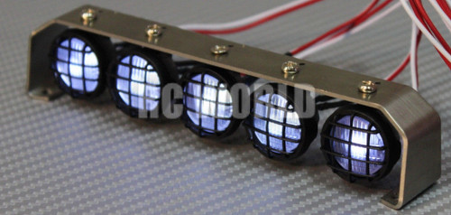 RC Scale Accessories All Metal LIGHT BAR WITH L.E.D LED LIGHTS Yellow Lens