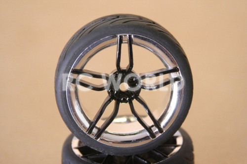 RC 1/10 CAR TIRES WHEELS RIMS SEMI- SLICKS KYOSHO TAMIYA HPI BLACK CHROME LIP #2