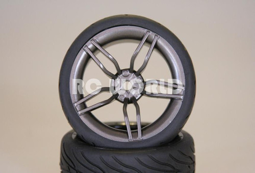 RC 1/10 CAR TIRES GUN METAL WHEELS RIMS PACKAGE KYOSHO TAMIYA HPI #4