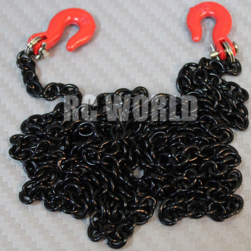 "RC 1/10 Scale Truck Accessories METAL Black CHAIN W/ HOOKS Tow Cable 36"" Long"