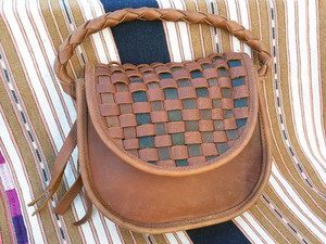 Wild West Southwest Saddle Bag Purse Brown Leather Weave Woven Rustic Western Cowboy Steampunk
