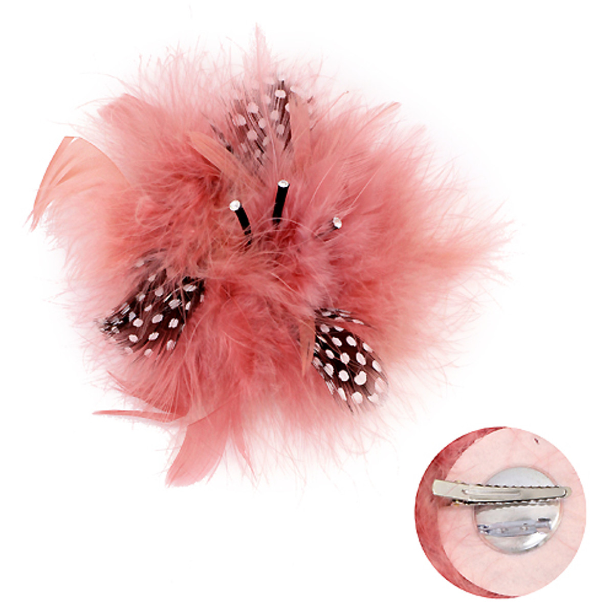 Accessoriesforever feather big flower corsage fashion brooch 2 way feather big flower corsage fashion brooch 2 way hair pin beautiful pink mightylinksfo
