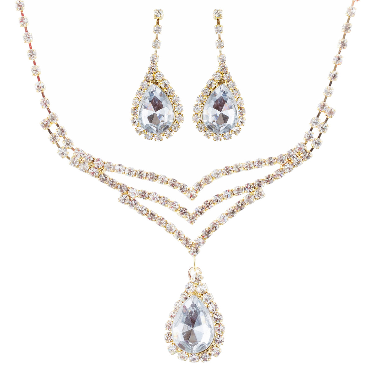 Accessoriesforever Bridal Wedding Jewelry Set Crystal Rhinestone