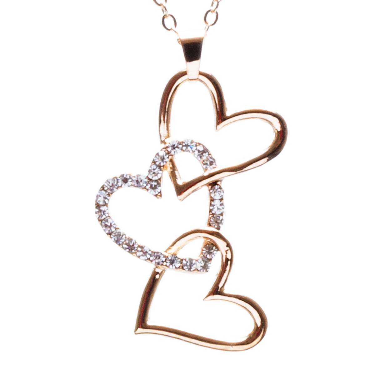 Accessoriesforever valentines jewelry crystal rhinestone triple valentines jewelry crystal rhinestone triple hearts pendant necklace n89 gold aloadofball Images