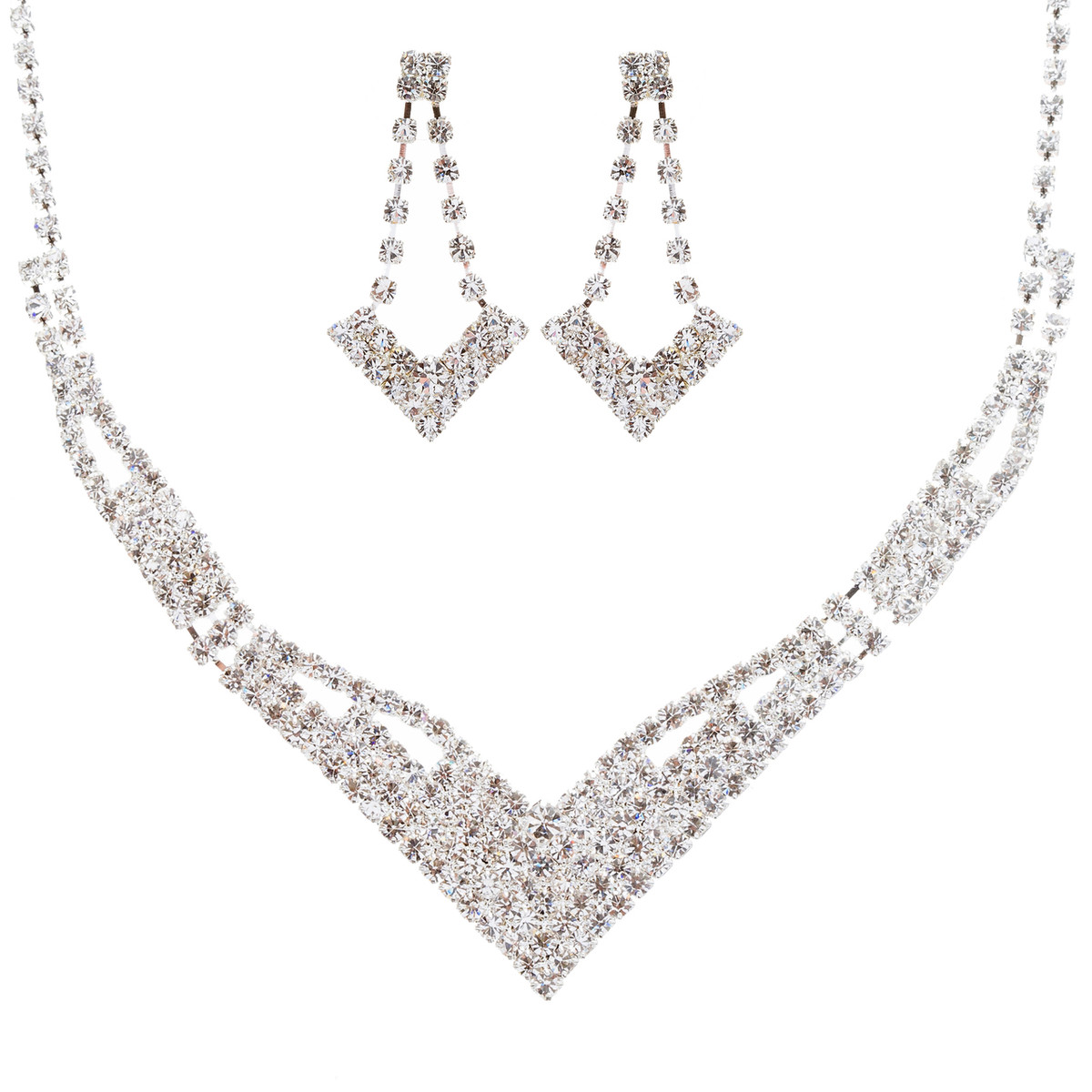 ACCESSORIESFOREVER Bridal Wedding Jewelry Set Prom Crystal