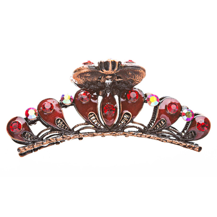Austrian Crystal Hair Claw Clip Jewelry Ruby Red
