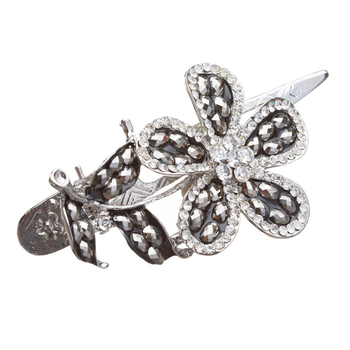 Beautiful Stunning Crystal Single Flower Leaf Hair Pin Clip Hematite Black