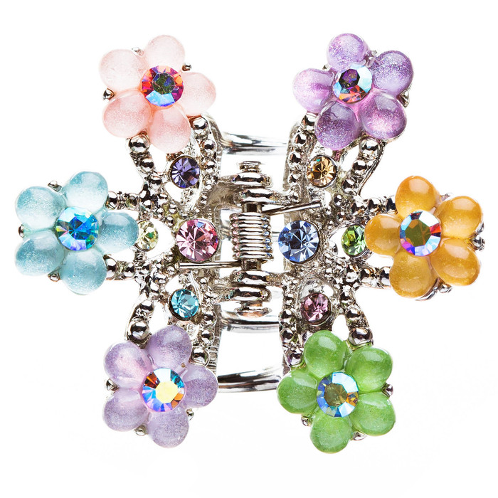 Austrian Crystal Multi Flowers Hair Claw Clip
