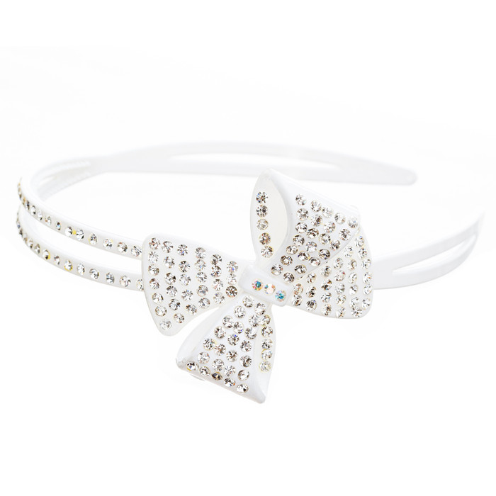 Fashion Sparkle Crystal Rhinestone Beautiful Ribbon Bow Design Headband White