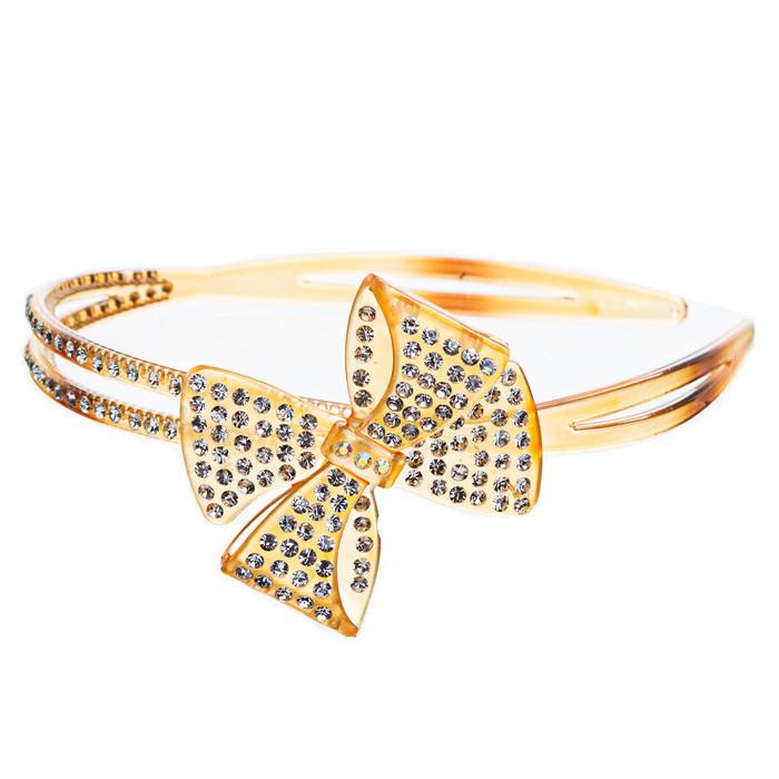 Fashion Sparkle Crystal Rhinestone Beautiful Ribbon Bow Design Headband Gold