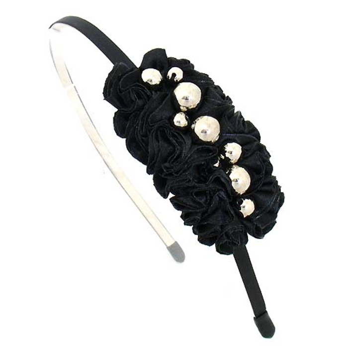 Silver Balls on Pleated Satin Ribbon Black Headband