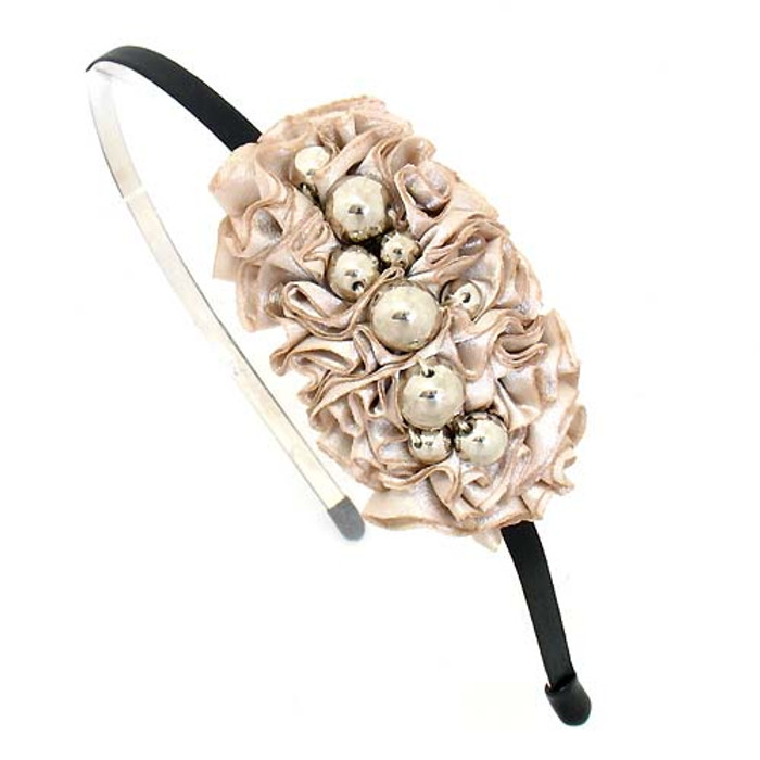 Silver Balls on Pleated Satin Ribbon Beige Headband