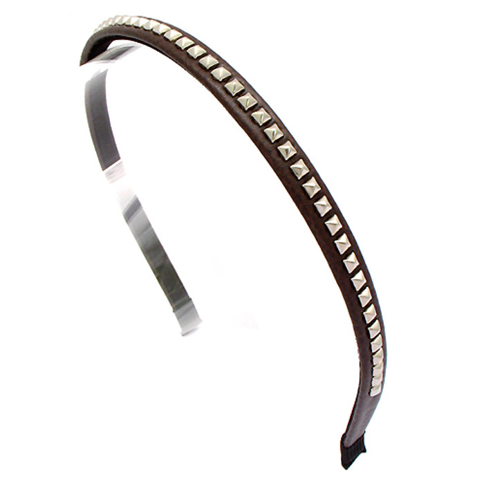 Square Silver Studded Leatherette Brown Headband