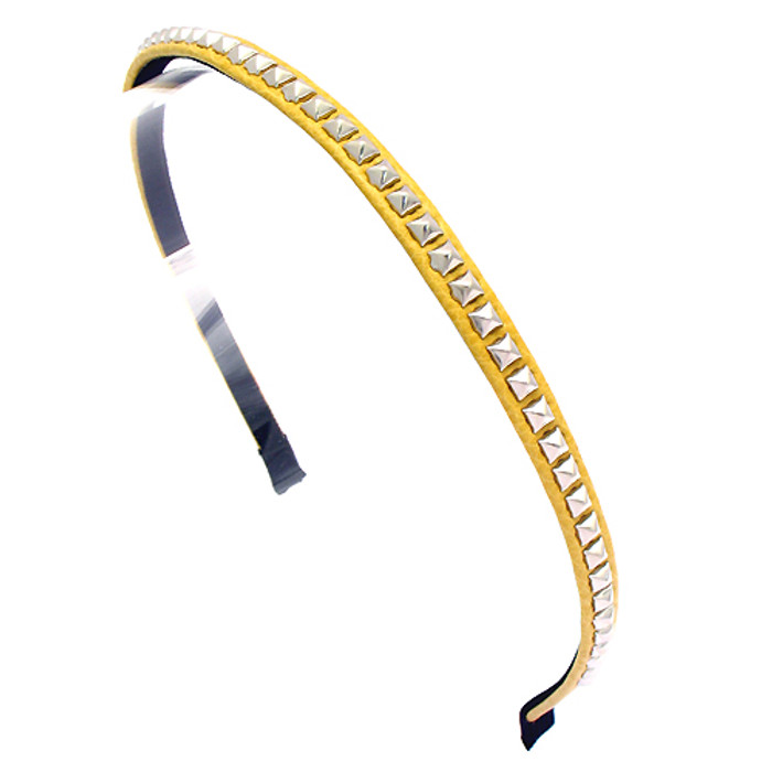 Square Silver Studded Leatherette Yellow Headband