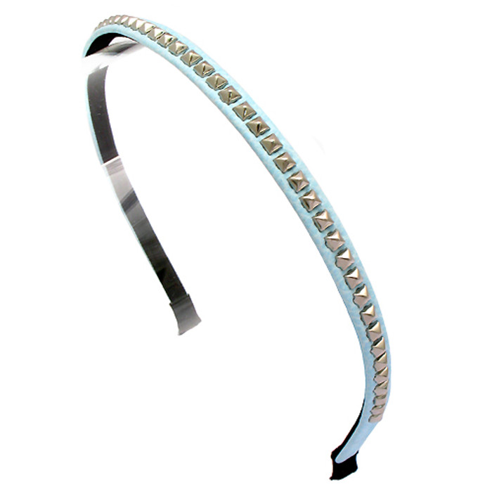 Square Silver Studded Leatherette Light Blue Headband