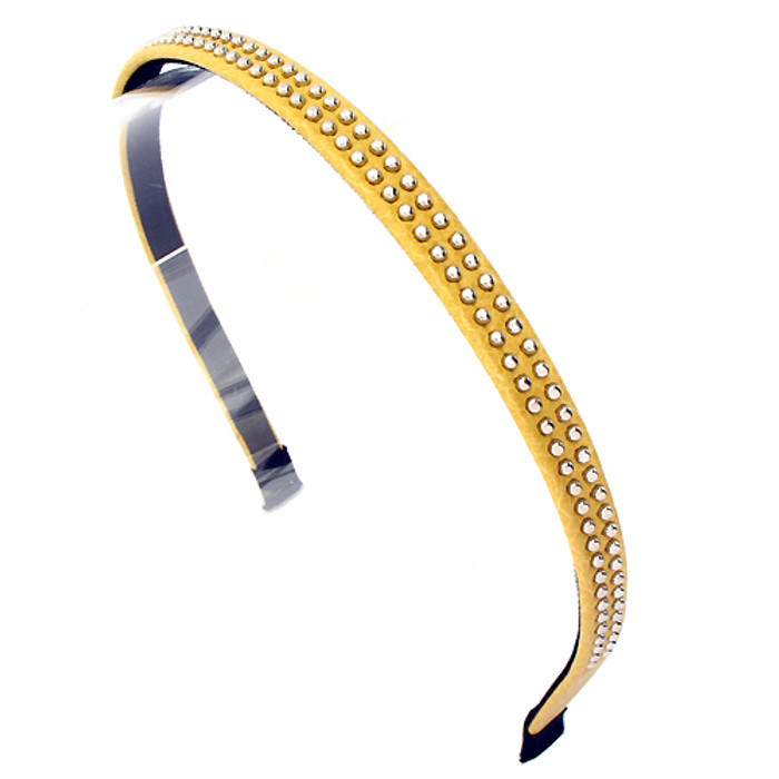Double Row Silver Ball Stud Leatherette Yellow Headband