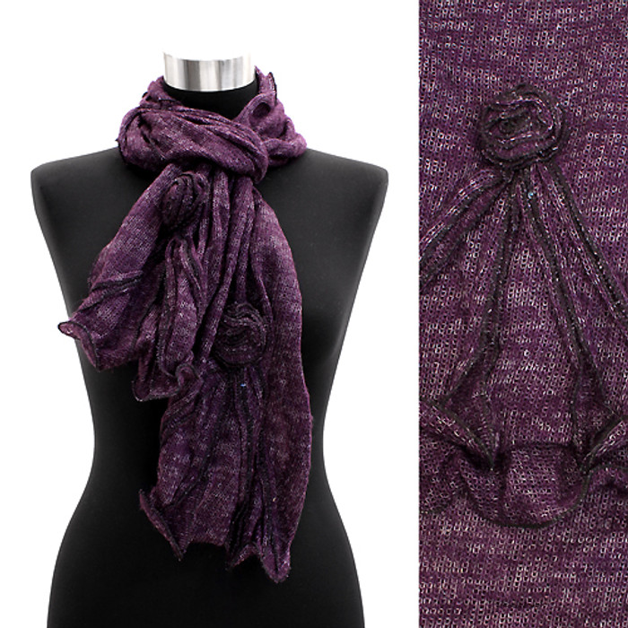 Corsage Decorated Ruffle Edged Scarf Dark Purple