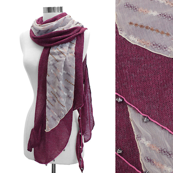 Double Layered Handmade Crafted Fashion Scarf Fuchsia