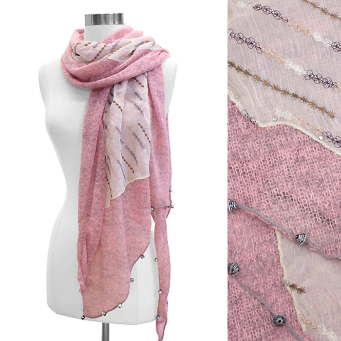 Double Layered Handmade Crafted Fashion Scarf Pink