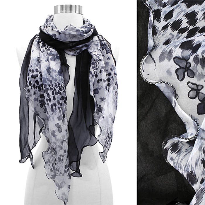 Duo Layered Floral Leopard Animal Chiffon Scarf Black