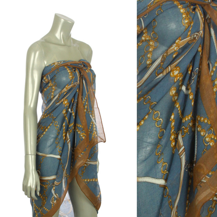 Beach Sarong Pareo Shawl Wrap Chain N Belt Blue