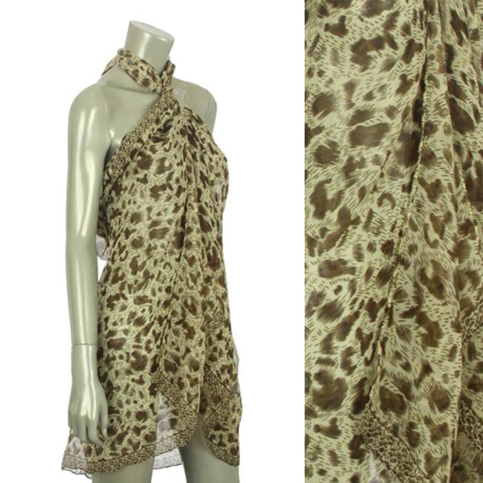 Beach Sarong Pareo Shawl Wrap Leopard N Border Camel