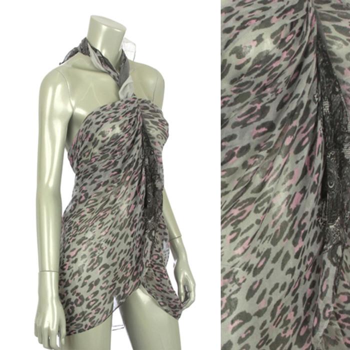 Beach Sarong Pareo Shawl Wrap Leopard Paisley Gray