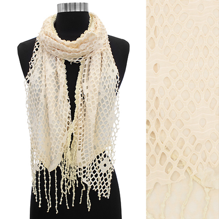 Soft Lightweight Net Vintage Fashion Scarf Creme Beige