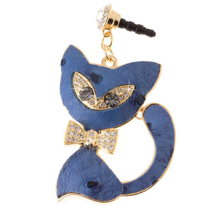 Earphone Dustproof Plug Stopper Phone Ear Cap Crystal Bow Tie Cat Gold Blue