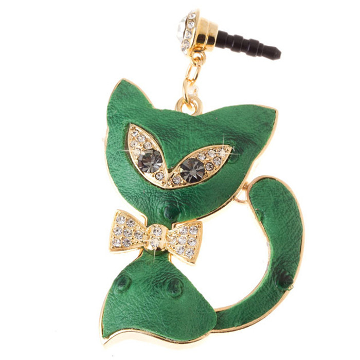 Earphone Dustproof Plug Stopper Phone Ear Cap Crystal Bow Tie Cat Gold Green