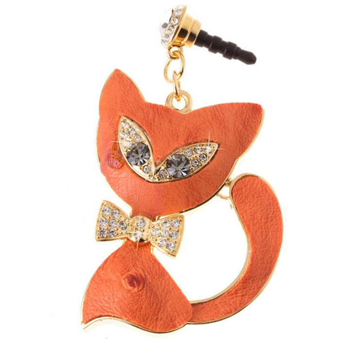 Earphone Dustproof Plug Stopper Phone Ear Cap Crystal Bow Tie Cat Gold Orange