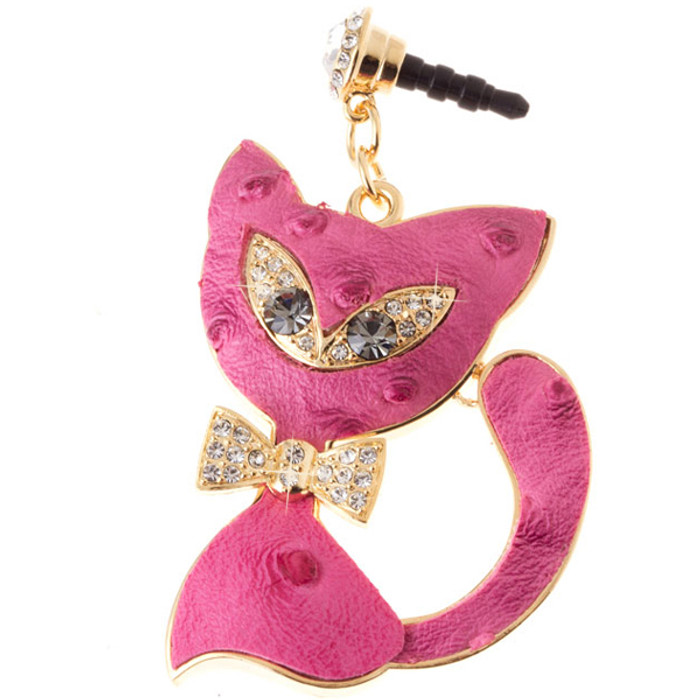 Earphone Dustproof Plug Stopper Phone Ear Cap Crystal Bow Tie Cat Gold Pink