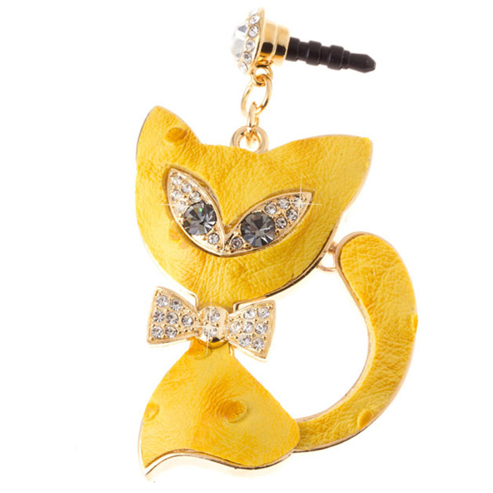Earphone Dustproof Plug Stopper Phone Ear Cap Crystal Bow Tie Cat Gold Yellow