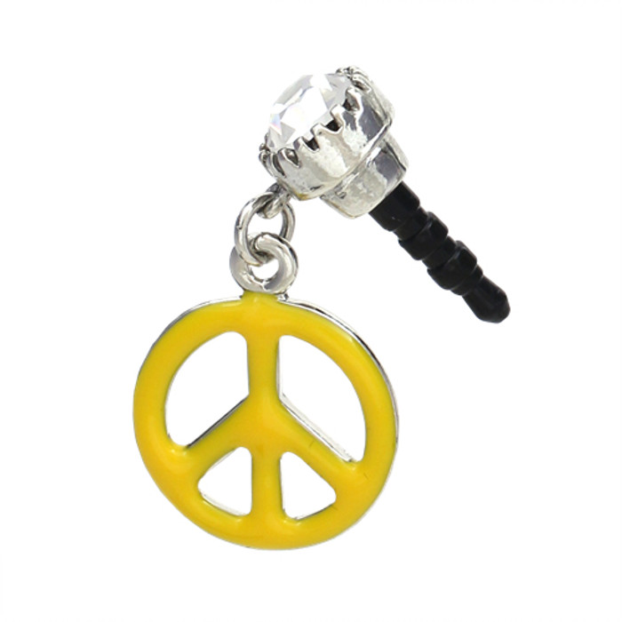 Earphone Dustproof Plug Stopper Phone Ear Cap Crystal Enamel Peace Sign Yellow