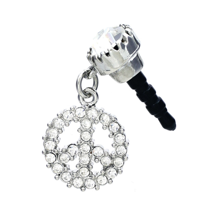 Earphone Dustproof Plug Stopper Phone Ear Cap Crystal Peace Sign Silver Clear