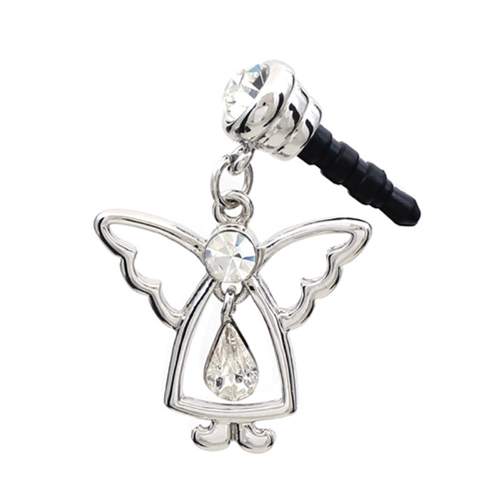 Earphone Dustproof Plug Stopper Phone Ear Cap Crystal Rhinestone Angel Silver