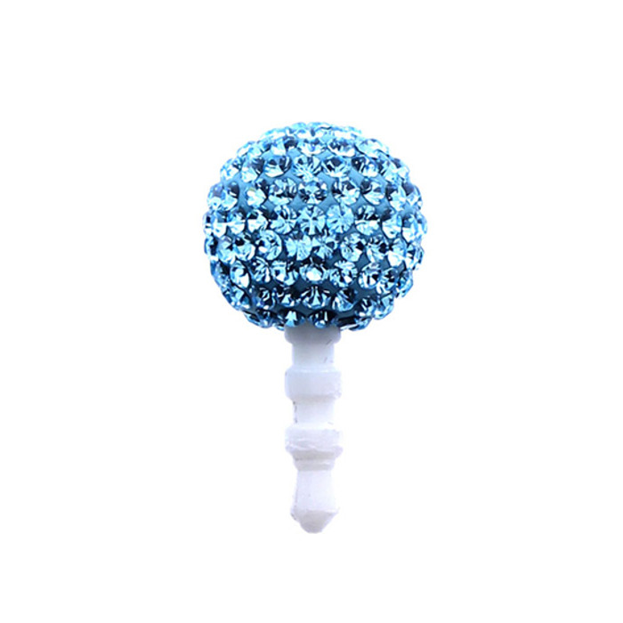 Earphone Dustproof Plug Stopper Phone Ear Cap Crystal Rhinestone Ball Aqua Blue