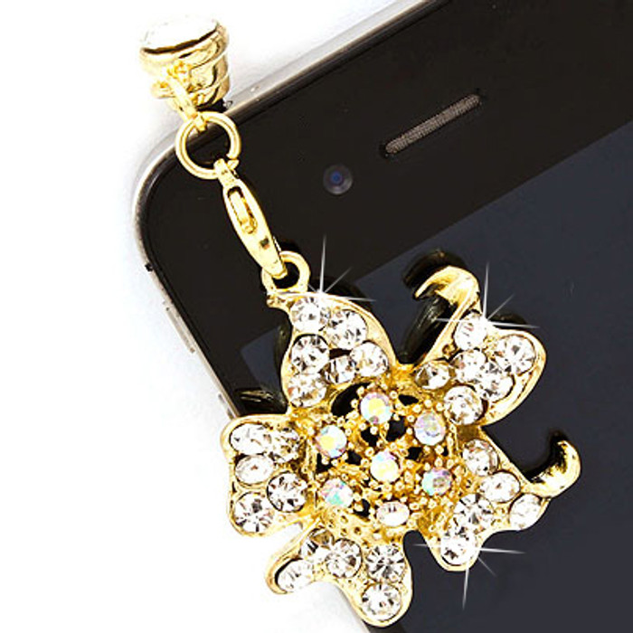 Earphone Dustproof Plug Stopper Phone Ear Cap Crystal Rhinestone Floral Gold